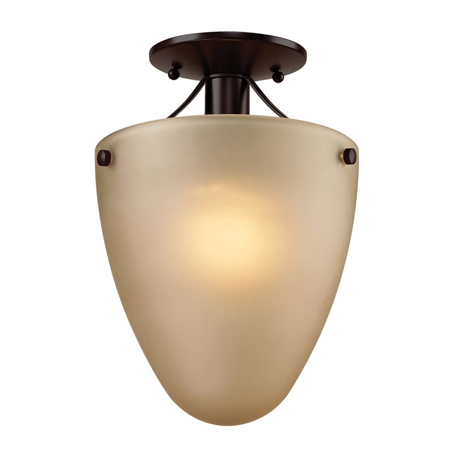 Westmore Lighting Fillmore 9-in W Oil Rubbed Bronze Frosted Glass LED Semi-Flush Mount Light