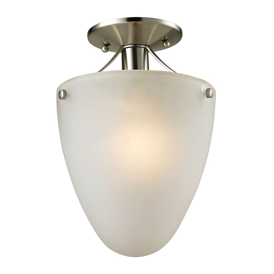 Westmore Lighting Fillmore 9-in W Brushed nickel Frosted Glass LED Semi-Flush Mount Light