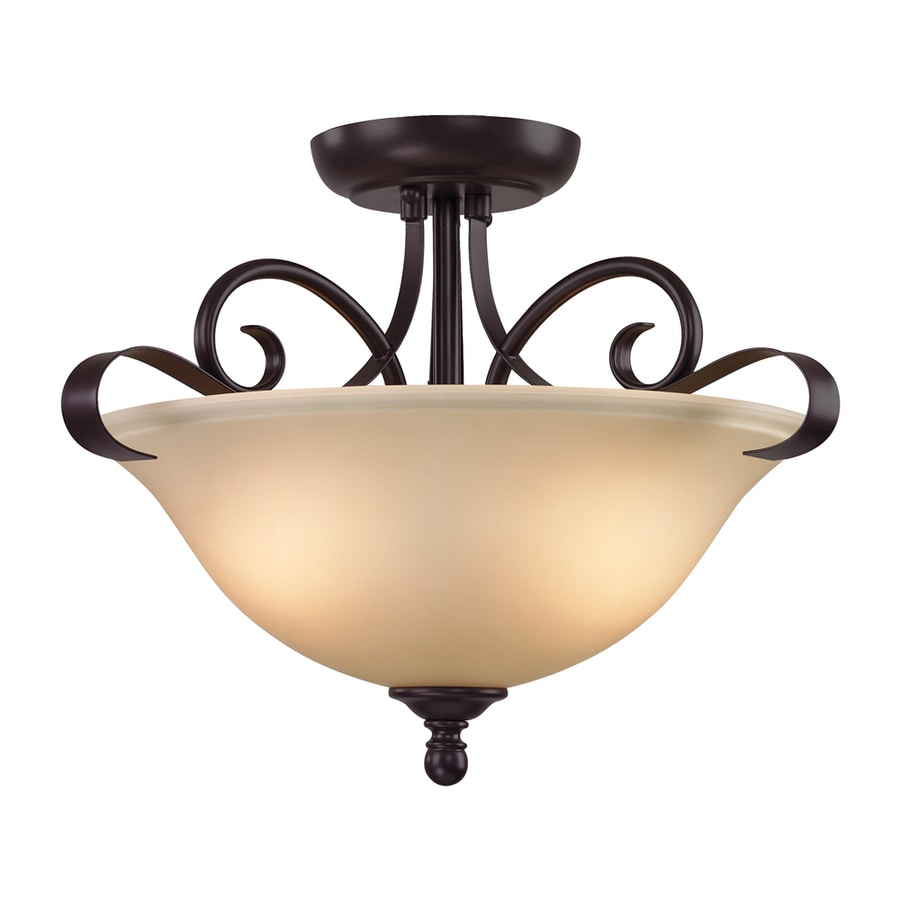 Westmore Lighting Colchester 16-in W Oil Rubbed Bronze Frosted Glass Semi-Flush Mount Light