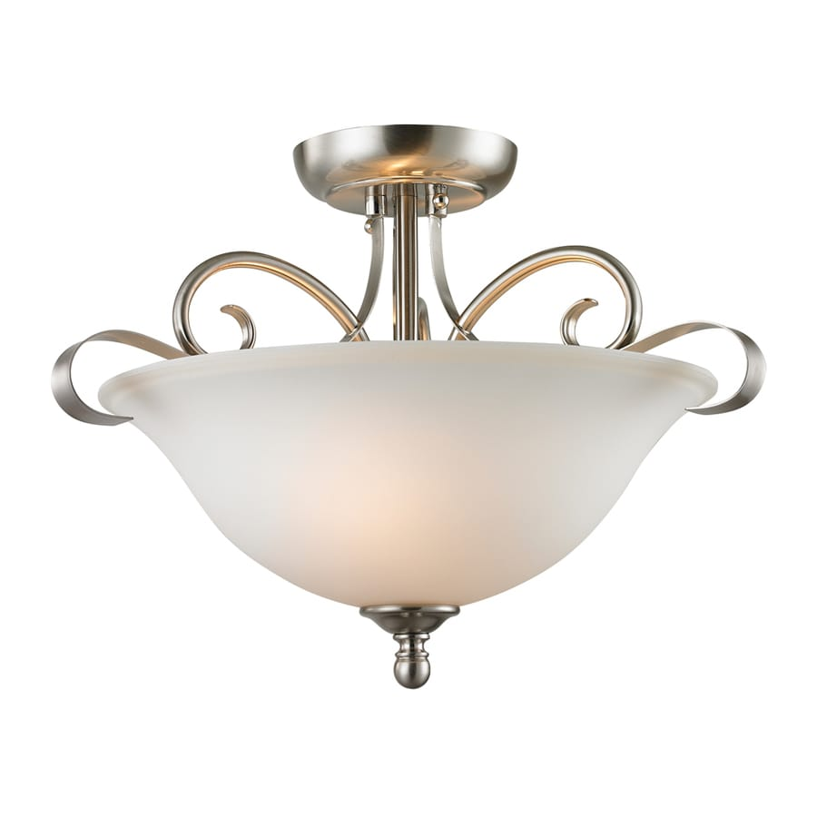 Westmore Lighting Colchester 16-in W Brushed Nickel Frosted Glass Semi-Flush Mount Light