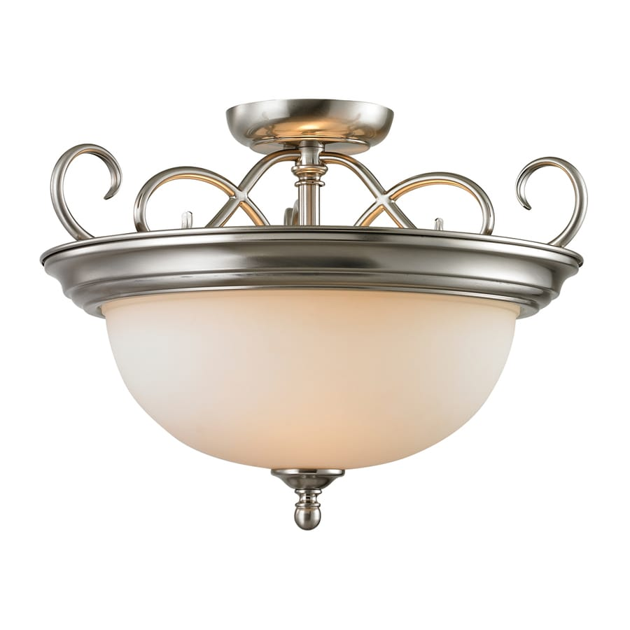Westmore Lighting Sunbury 17-in W Brushed Nickel Frosted Glass Semi-Flush Mount Light