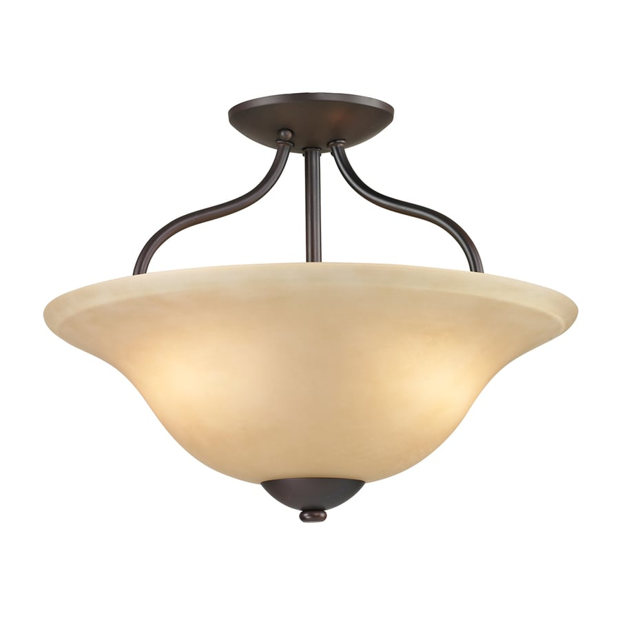 Westmore Lighting Ashland 15-in W Oil Rubbed Bronze Frosted Glass Semi-Flush Mount Light