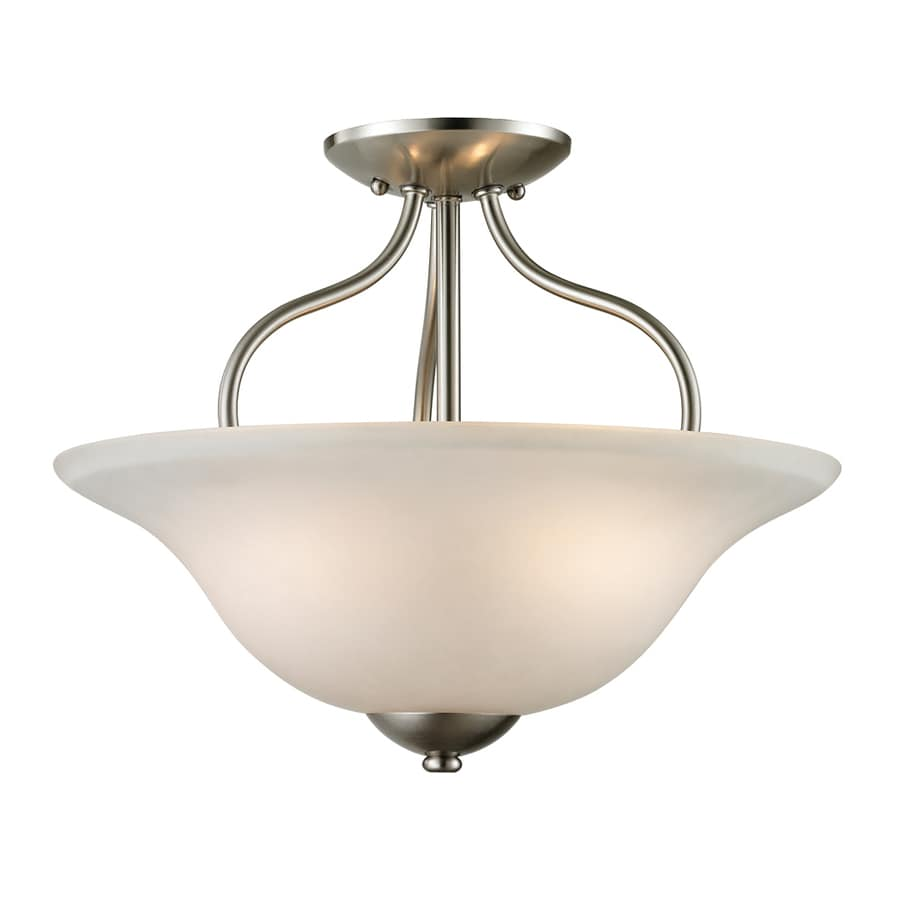Westmore Lighting Ashland 15-in W Brushed nickel Frosted Glass Semi-Flush Mount Light