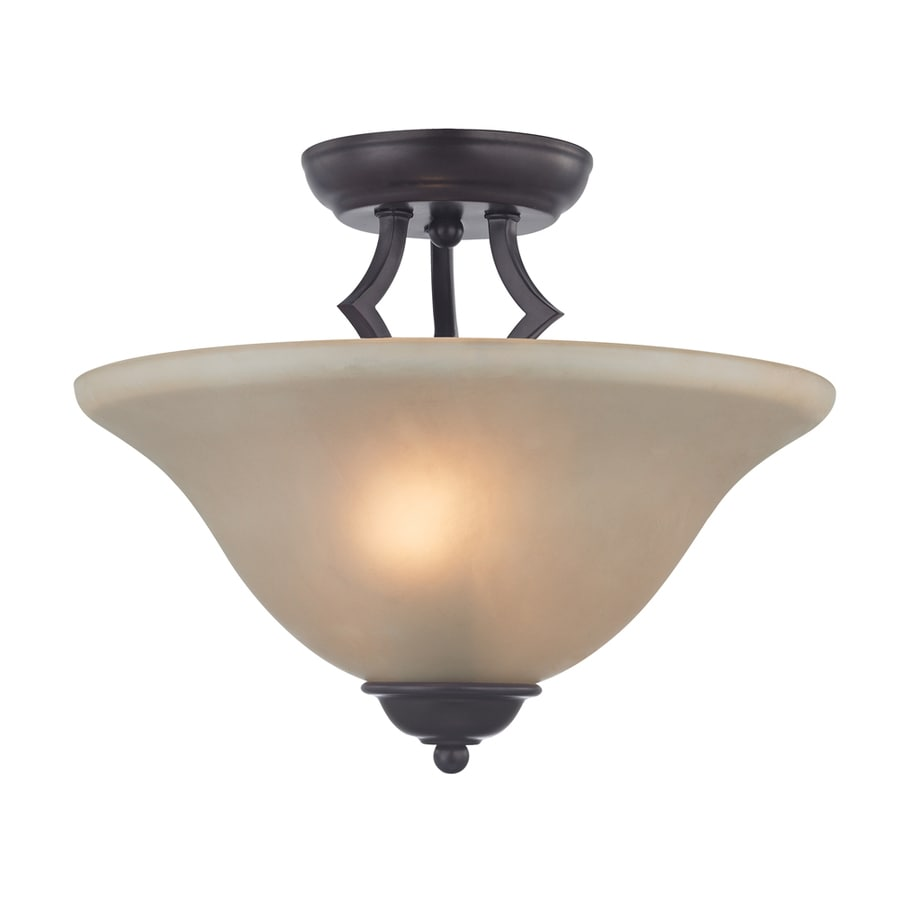 Westmore Lighting Rutherford 13-in W Oil Rubbed Bronze Frosted Glass LED Semi-Flush Mount Light