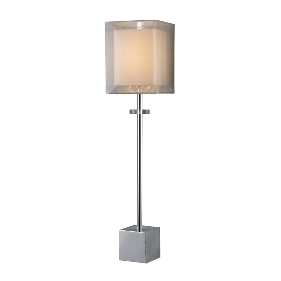 Westmore Lighting Amesbrook 30-in Chrome Table Lamp with Fabric Shade