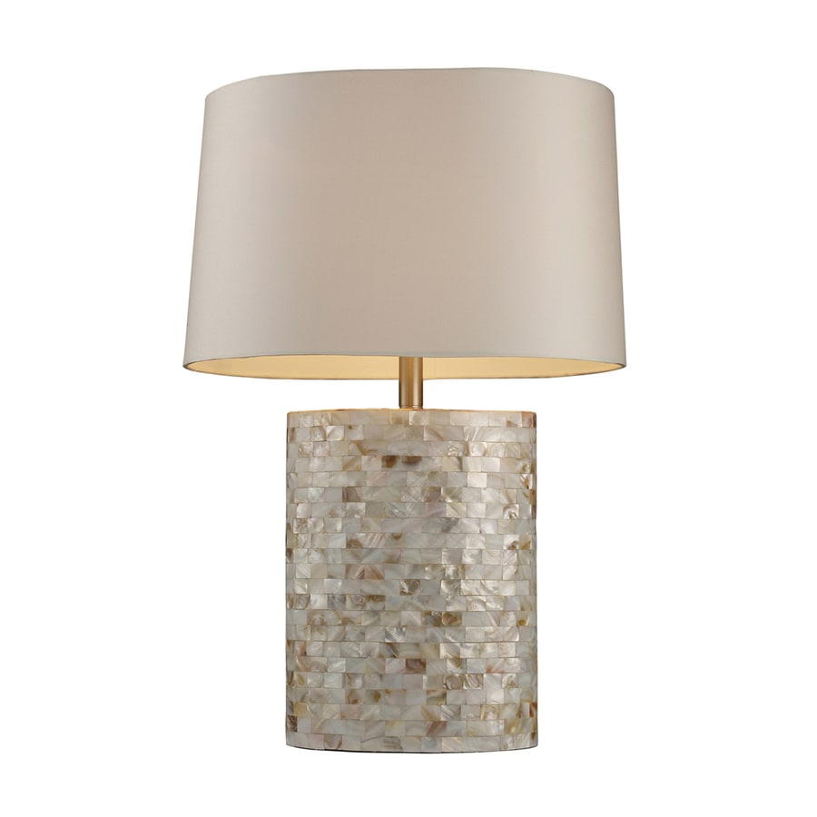 Westmore Lighting Renwick 27-in 3-Way Pearl Indoor Table Lamp with Fabric Shade