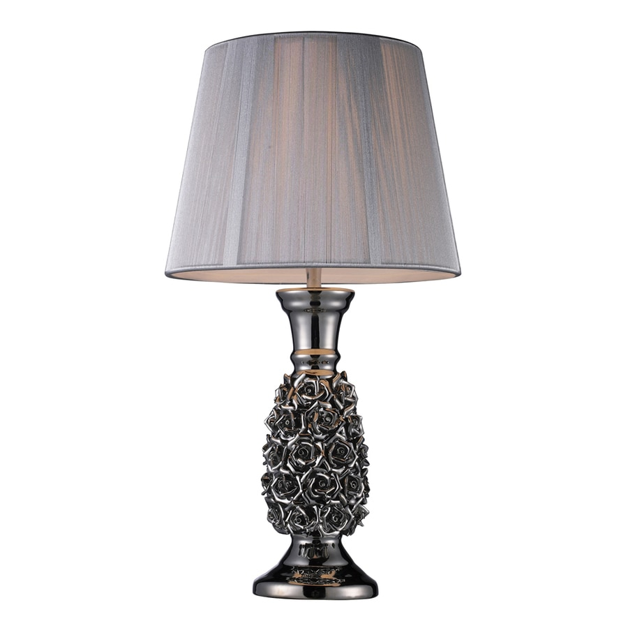 Westmore Lighting Mazur 22-in Silver Indoor Table Lamp with Fabric Shade