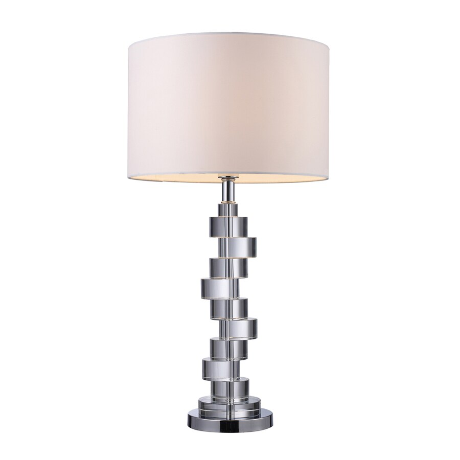 Westmore Lighting Stadnik 29.5-in Clear Crystal and Chrome Standard 3-Way Switch Table Lamp with Fabric Shade