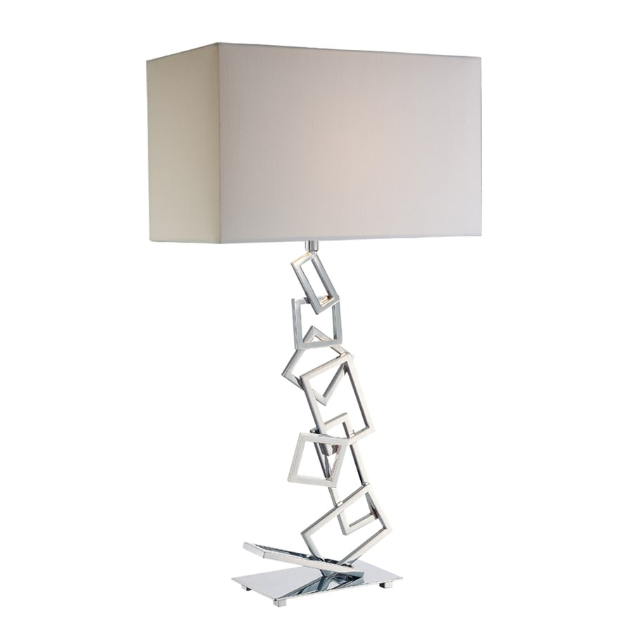 Westmore Lighting Madryn 29-in 3-Way Chrome Indoor Table Lamp with Fabric Shade