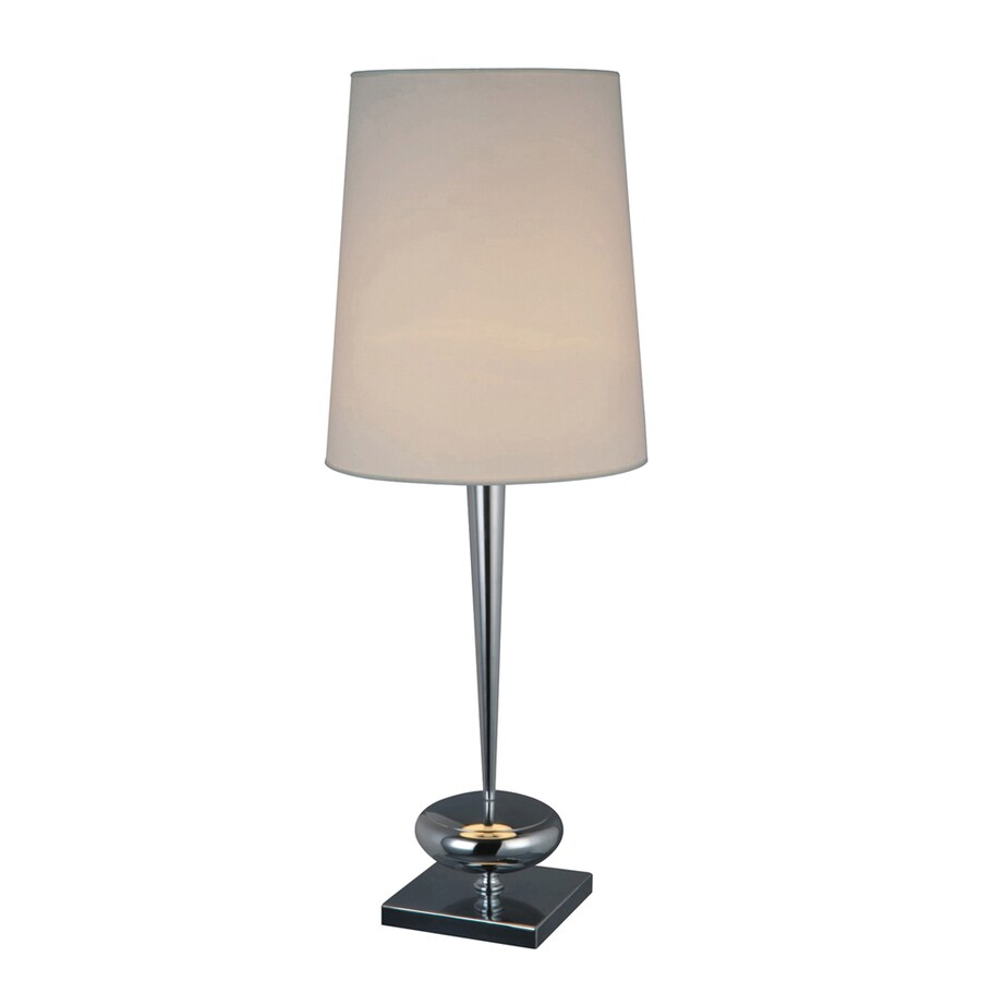 Westmore Lighting Mora 36-in 3-Way Chrome Indoor Table Lamp with Fabric Shade