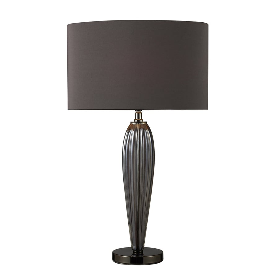 Westmore Lighting Frampton 25-in Smoked Steel and Black Nickel Standard 3-Way Switch Table Lamp with Fabric Shade