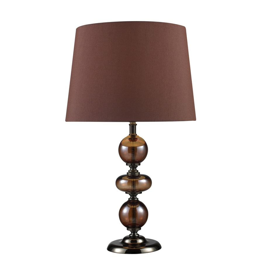 Westmore Lighting Minstrel 20-in Bronze and Coffee Indoor Table Lamp with Fabric Shade
