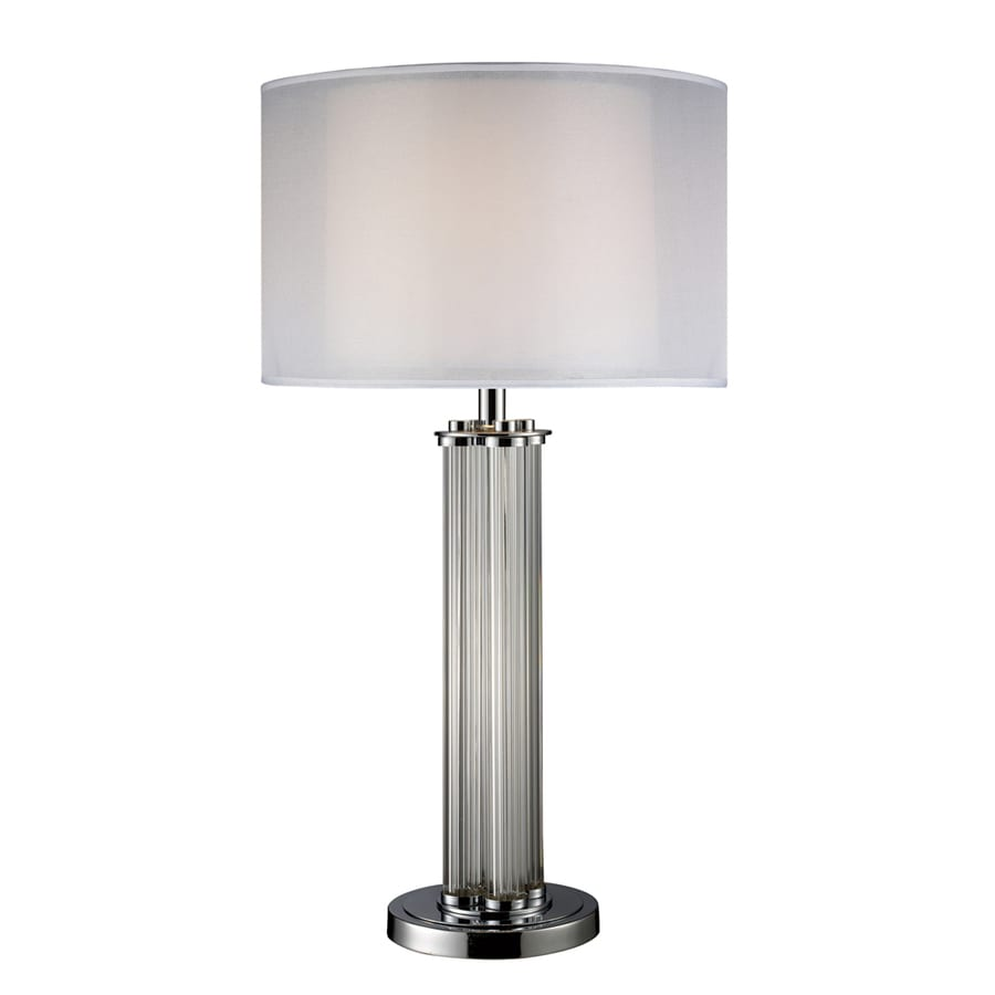 Westmore Lighting Millywood 32-in Chrome Standard 3-Way Switch Table Lamp with Fabric Shade