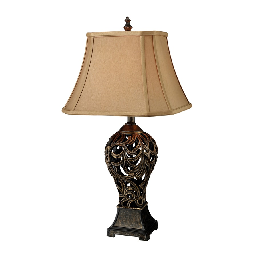 Westmore Lighting Kline Avenue 29.5-in 3-Way Goida Bronze Indoor Table Lamp with Fabric Shade