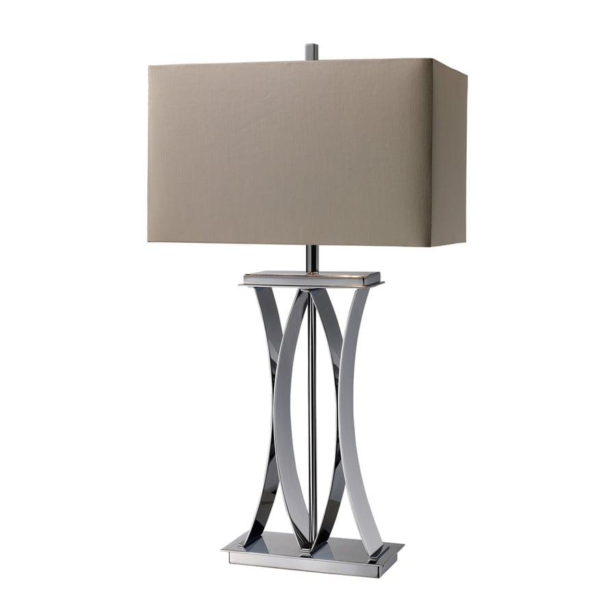 Westmore Lighting Witheright 29.4-in 3-Way Chrome Indoor Table Lamp with Fabric Shade