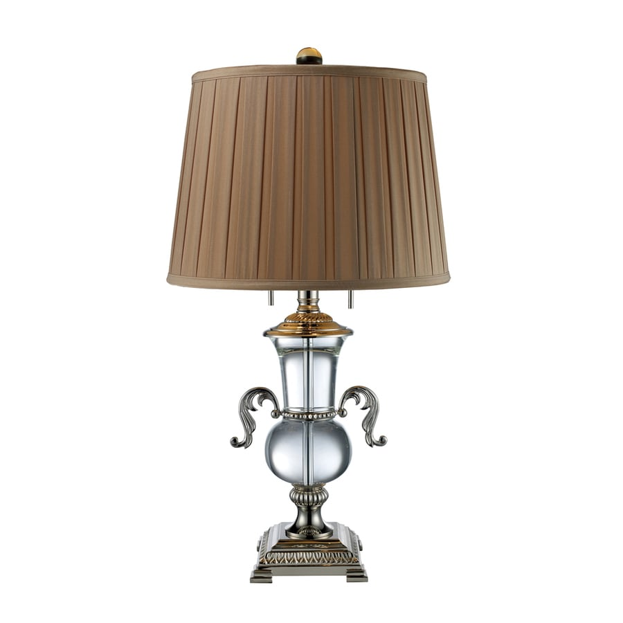 Westmore Lighting Barna 29.2-in Clear Crystal Standard Table Lamp with Fabric Shade
