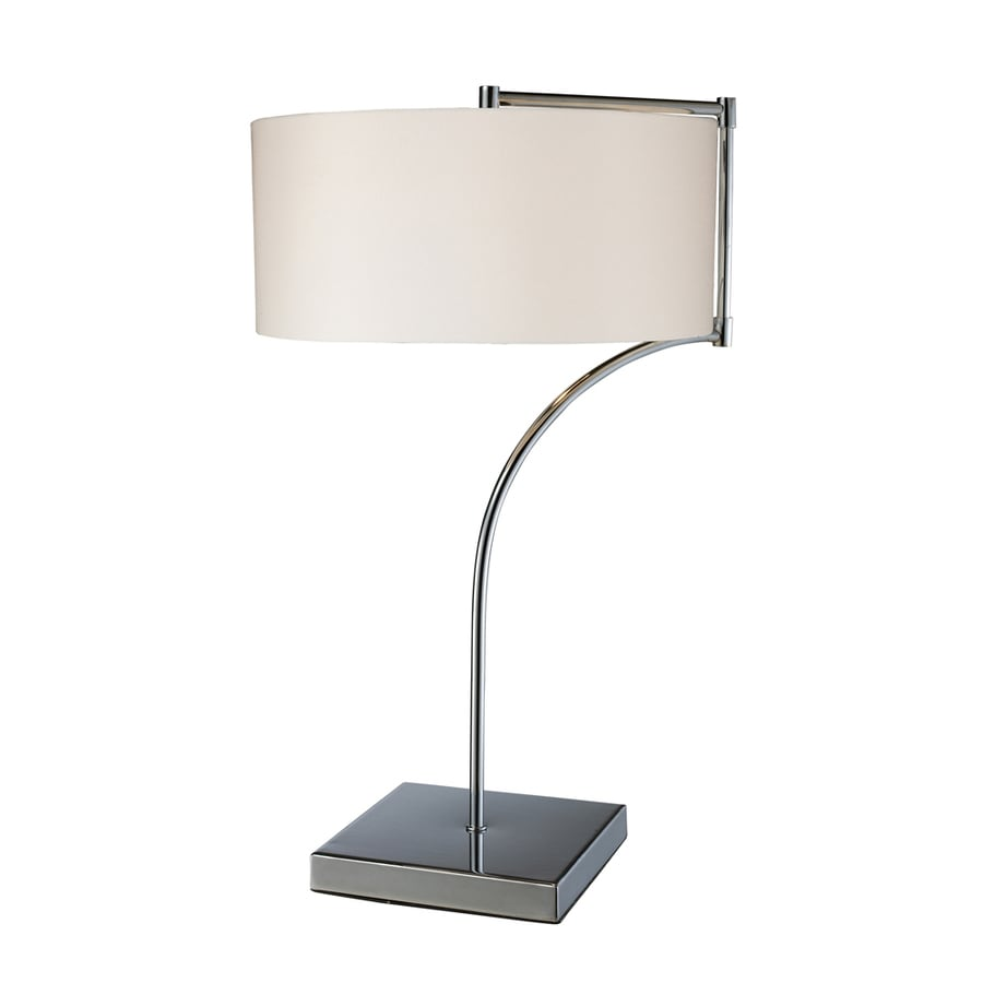 Westmore Lighting Pinebrook 22-in Chrome Indoor Table Lamp with Fabric Shade