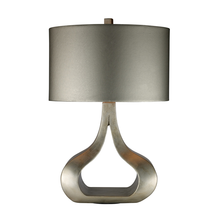 Westmore Lighting Roseboro 26-in Silver Leaf Standard 3-Way Switch Table Lamp with Fabric Shade