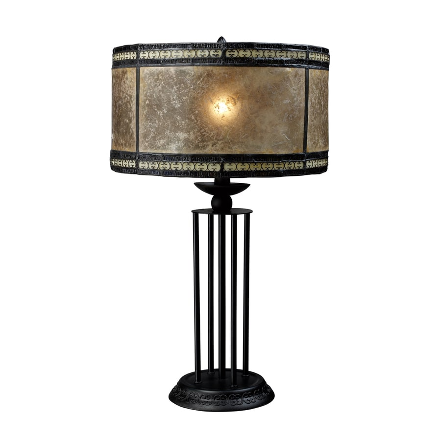 Westmore Lighting Shalomar 23-in Antique Black Standard Table Lamp with Glass Shade