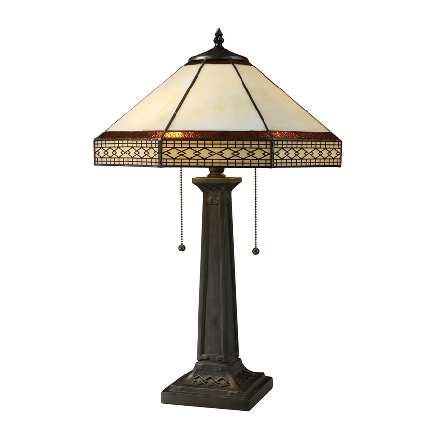 Westmore Lighting Ardcost 24-in Tiffany Bronze Standard Table Lamp with Glass Shade