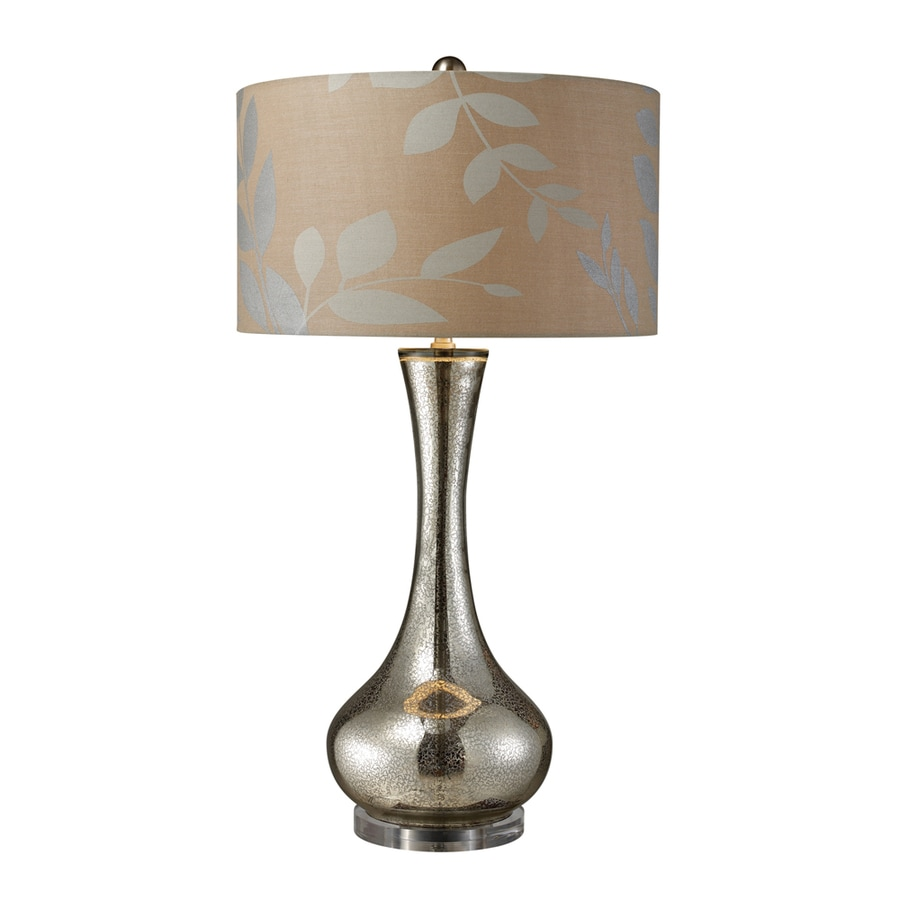 Westmore Lighting Craymore 34-in 3-Way Antique Mercury Blown Glass Indoor Table Lamp with Fabric Shade