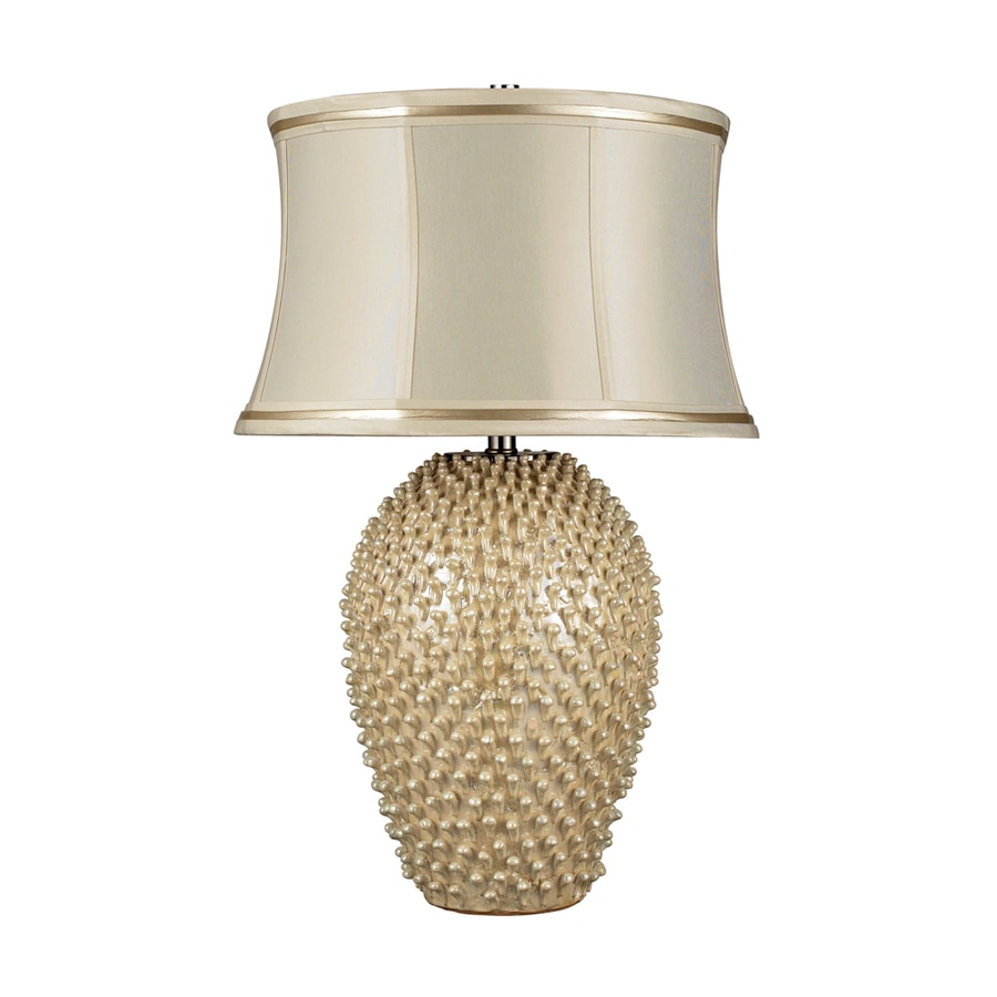 Westmore Lighting Briarfield 27-in Pearl Cream Standard 3-Way Switch Table Lamp with Fabric Shade