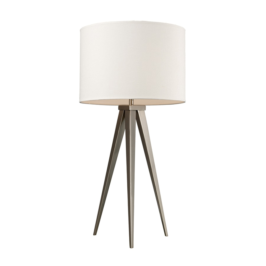 Westmore Lighting Cornamona 28-in Satin Nickel Standard 3-Way Switch Table Lamp with Fabric Shade