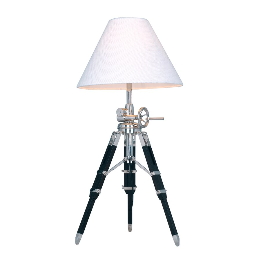 Westmore Lighting Bohermore 35-in Chrome and Black Indoor Table Lamp with Fabric Shade