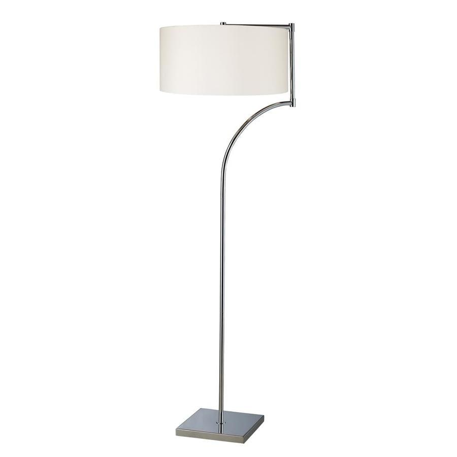 Westmore Lighting Pinebrook 58-in Chrome Contemporary/Modern Shaded Floor Lamp Indoor Floor Lamp with Fabric Shade