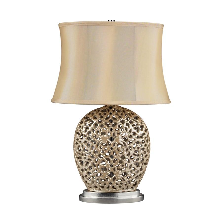 Westmore Lighting Darwin 25-in 3-Way Pearl Cream Indoor Table Lamp with Fabric Shade