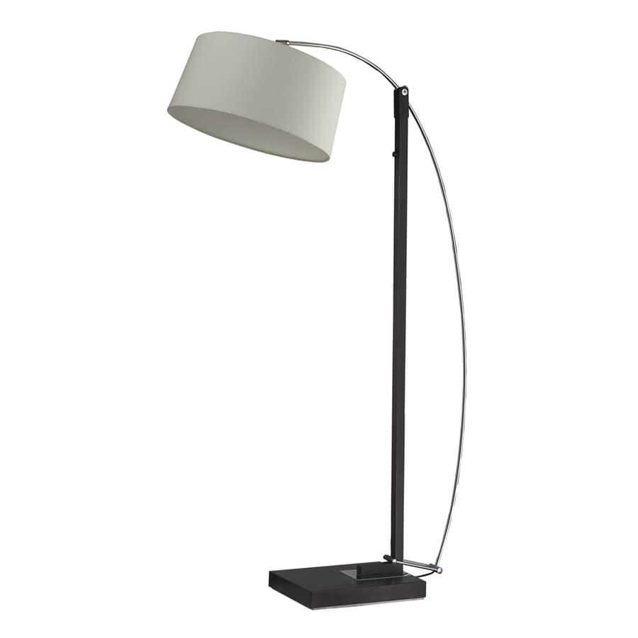 Westmore Lighting Pasteur 88-in Dark Brown Floor Lamp with Fabric Shade