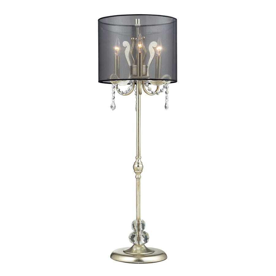 Westmore Lighting Cantor 37-in Silver Leaf Indoor Table Lamp with Fabric Shade