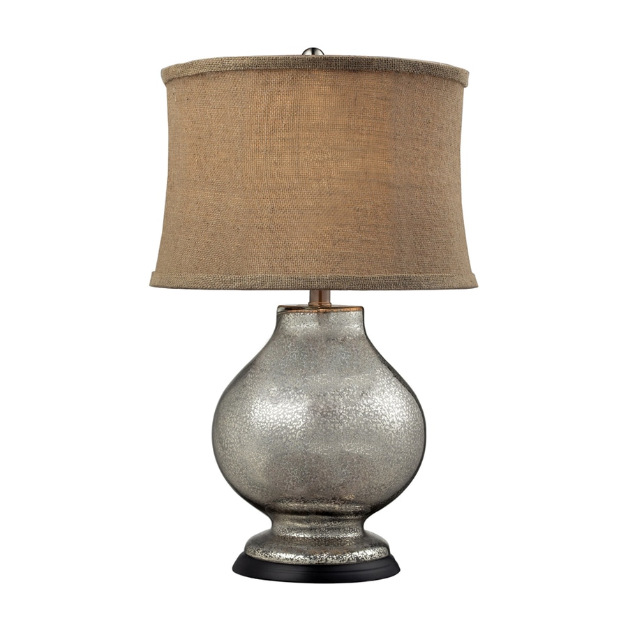 Westmore Lighting Ptolemy 25-in Mercury Standard Table Lamp with Fabric Shade