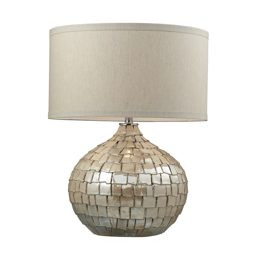 Westmore Lighting Doyle 25-in Pearl Cream Standard 3-Way Switch Table Lamp with Fabric Shade