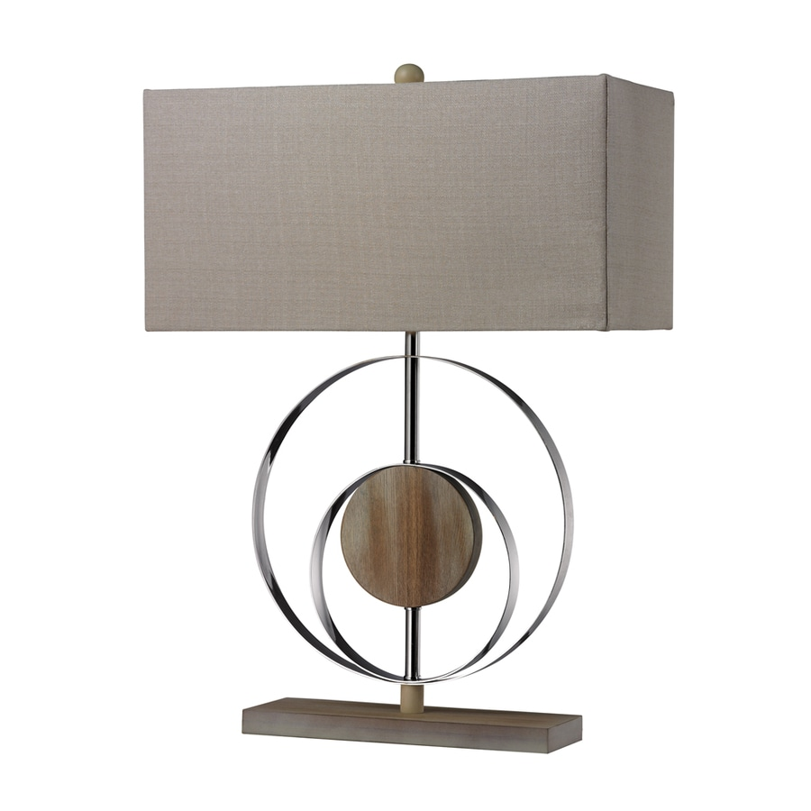 Westmore Lighting Guevara 22.8-in Washed Wood and Chrome Standard 3-Way Switch Table Lamp with Fabric Shade