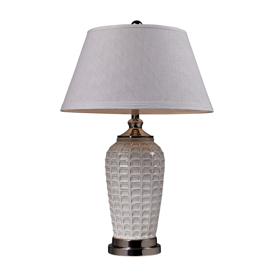 Westmore Lighting Borden 31-in 3-Way White Glaze and Polished Nickel Indoor Table Lamp with Fabric Shade