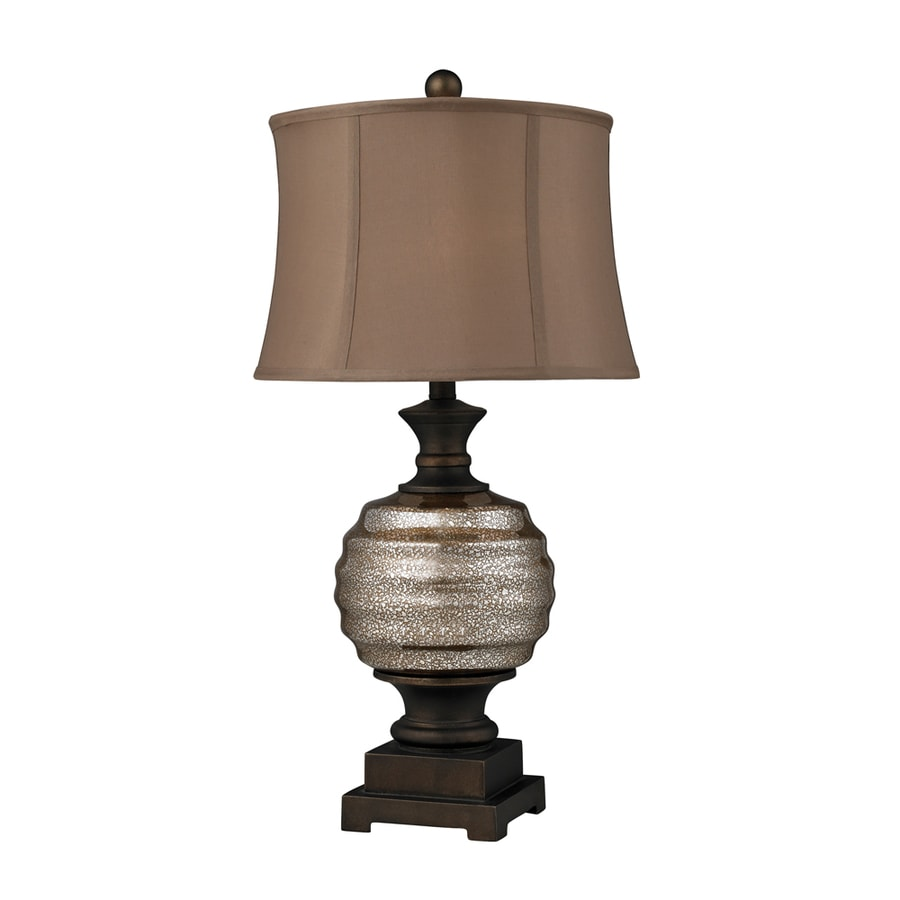 Westmore Lighting Conroy 29-in Antique Mercury and Bronze Standard 3-Way Switch Table Lamp with Fabric Shade