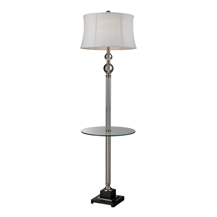 Westmore Lighting Conroy 67.5-in 3-Way Polished Nickel and Clear Crystal Traditional 3-Way Shaded Floor Lamp Floor Lamp with Fabric Shade