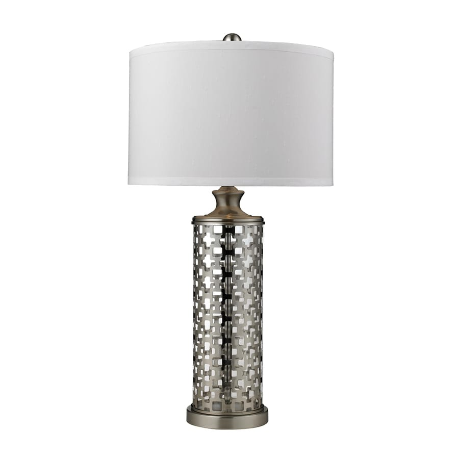 Westmore Lighting Kovin Park 31.8-in Brushed Nickel Standard 3-Way Switch Table Lamp with Fabric Shade