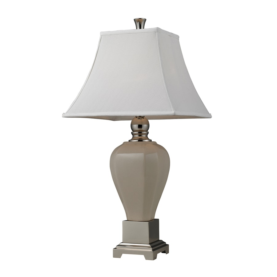 Westmore Lighting Storkwood 30.5-in 3-Way Polished Nickel Indoor Table Lamp with Fabric Shade