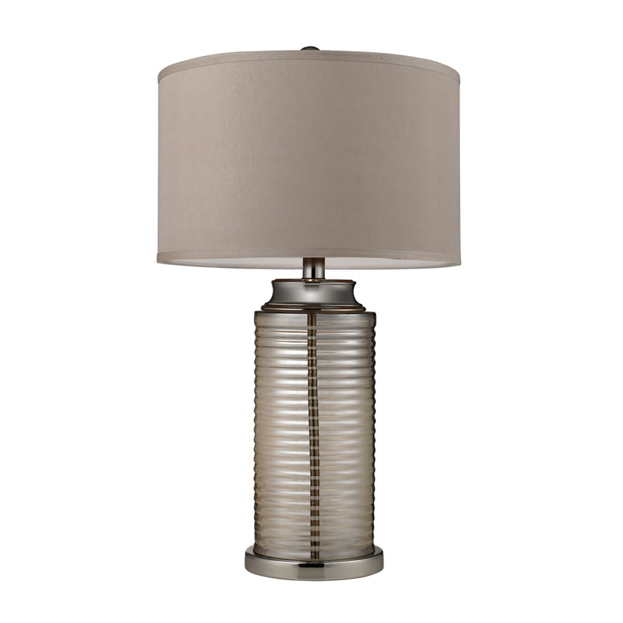 Westmore Lighting Canessa 29.5-in 3-Way Amber and Polished Nickel Indoor Table Lamp with Fabric Shade