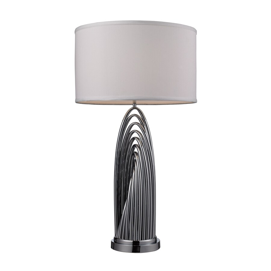 Westmore Lighting Laplace 30-in 3-Way Chrome Indoor Table Lamp with Fabric Shade