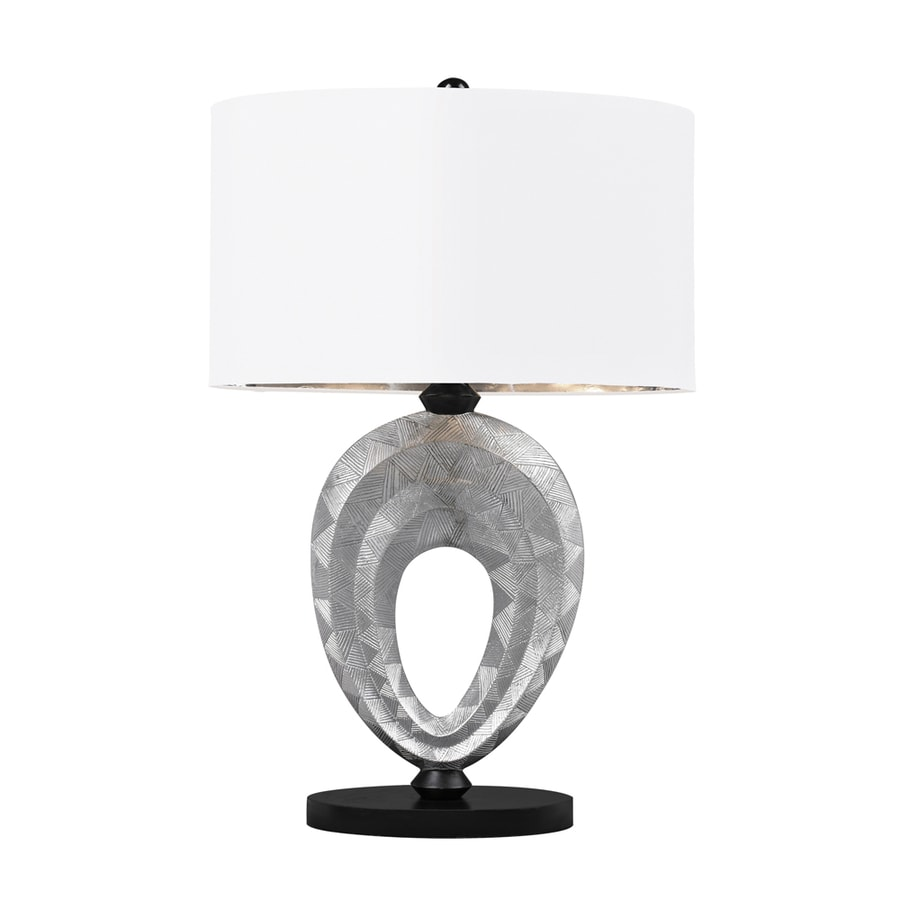 Westmore Lighting Montpelier 23-in Silver and Black Standard 3-Way Switch Table Lamp with Fabric Shade