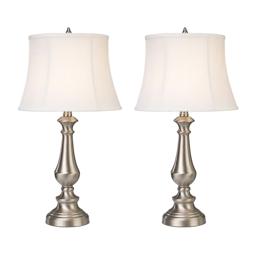 Westmore Lighting Grafton 25-in Brushed Steel Standard Table Lamp with Fabric Shade