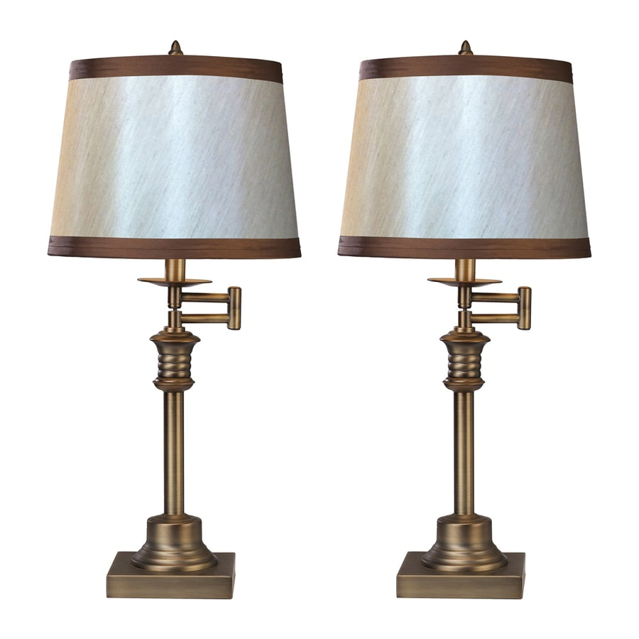 Westmore Lighting Litchfield 26-in Antique Brass Standard 3-Way Switch Table Lamp with Fabric Shade