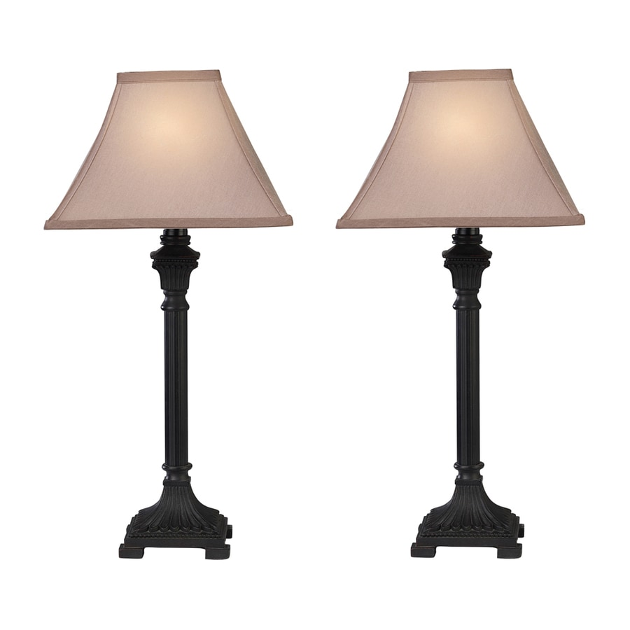 Westmore Lighting Parrsboro 26-in Brown Indoor Table Lamp with Fabric Shade