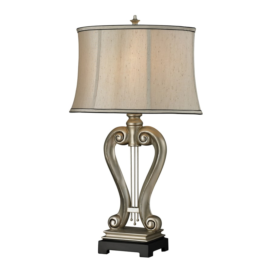 Westmore Lighting Orono 17-in 3-Way Vintage Silver Leaf Indoor Table Lamp with Fabric Shade