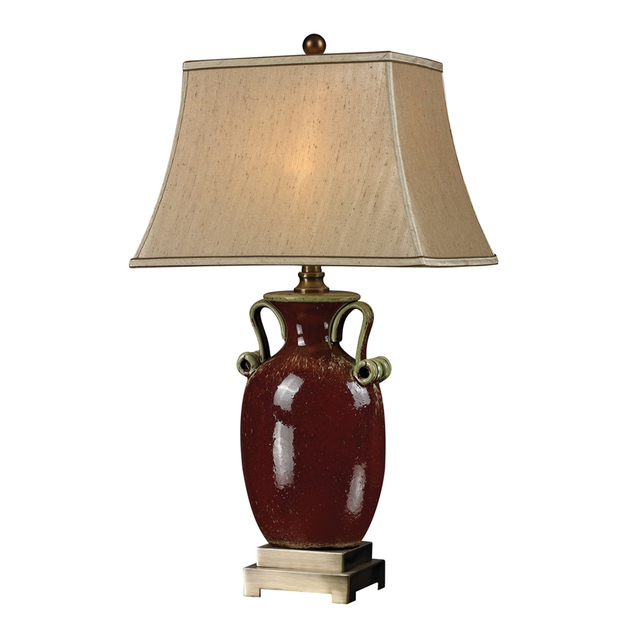 Westmore Lighting Van Dorron 16.5-in Algoma Cherry and Antique Brass Standard 3-Way Switch Table Lamp with Fabric Shade