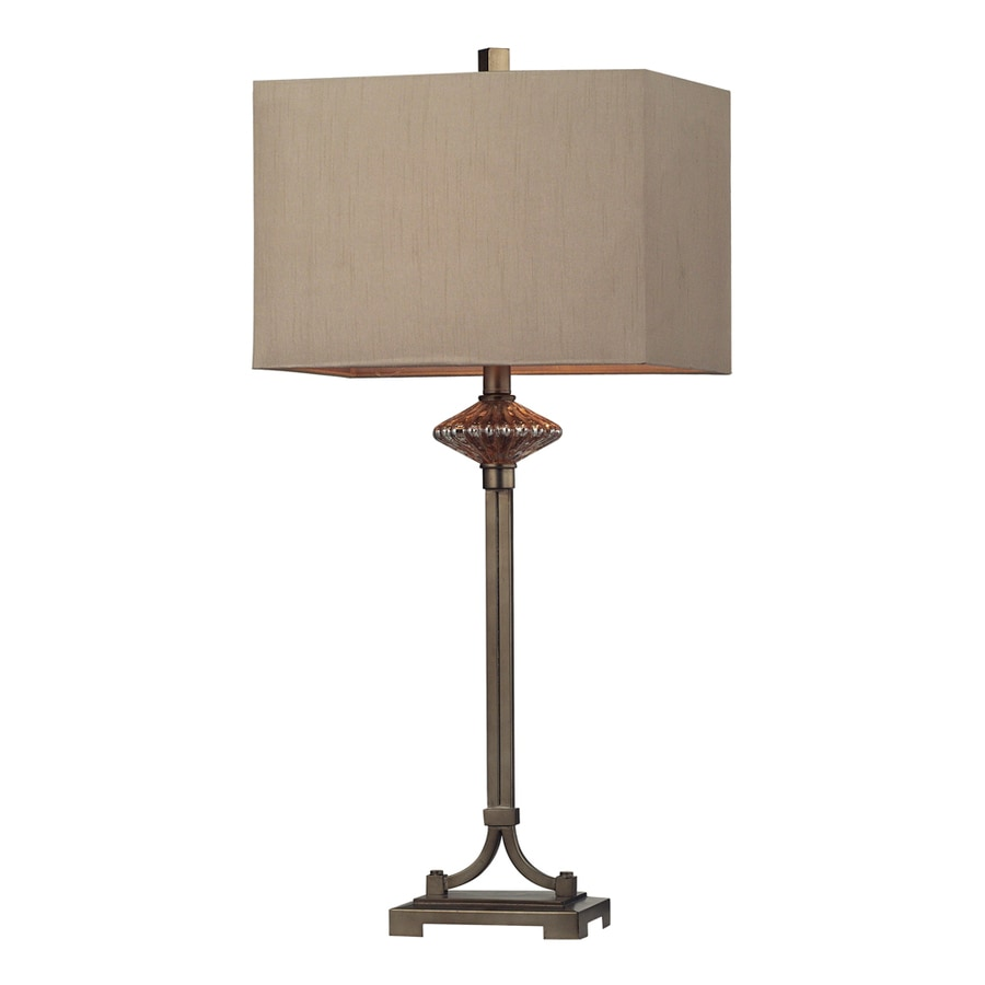 Westmore Lighting Alvada 15-in Antique Gold and Amber Mercury Standard 3-Way Switch Table Lamp with Fabric Shade