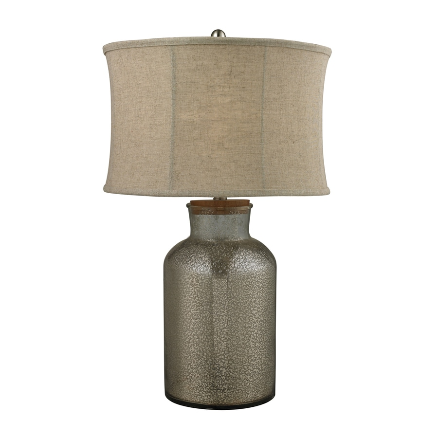 Westmore Lighting Spryfield 17.5-in Antique Mercury Standard 3-Way Switch Table Lamp with Fabric Shade